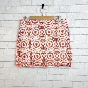 Ann Taylor Embroidered Floral Burnt Orange Mini